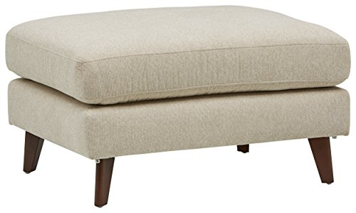 "Amazon Brand – Rivet Sloane Mid-Century Modern Ottoman with Tapered Legs, 32""W, Shell"