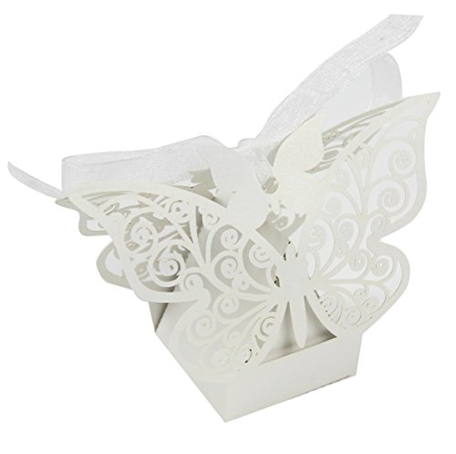 50PCS Luxury Wedding Party Sweets Cake Candy Gift Favour Favors Boxes (Butterfly, -