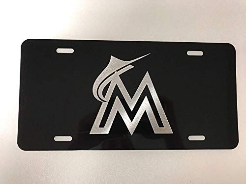 Eletina Toy Miami Marlins Logo Car Tag On Black Aluminum License Plate