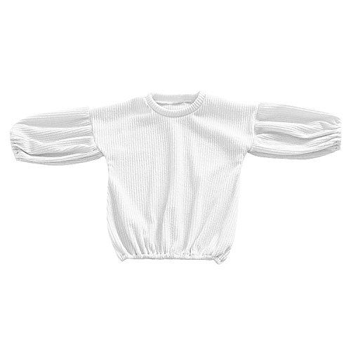 Sleeve Crew Puff Neck Long (Evelin LEE Baby Girls Infant Long Sleeve Tops Crewnecks Puff Sleeve T-Shirts Outfit)