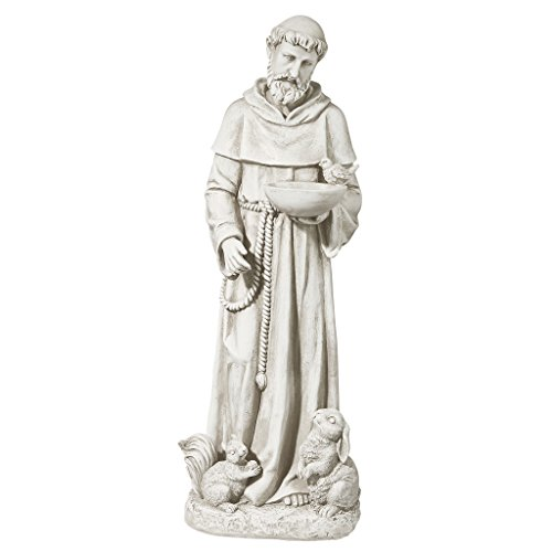 Design Toscano LY815059 Nature's Nurturer, St. Francis Religious Garden Decor Statue Bird Feeder, Medium 28 Inch, Antique Stone ()