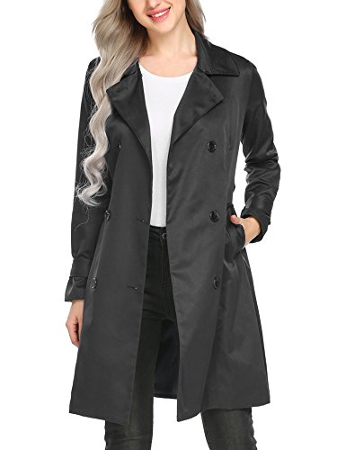 BURLADY Women's Outwear Casual Double-Breasted Long Trench Coat With Belt Black, ()