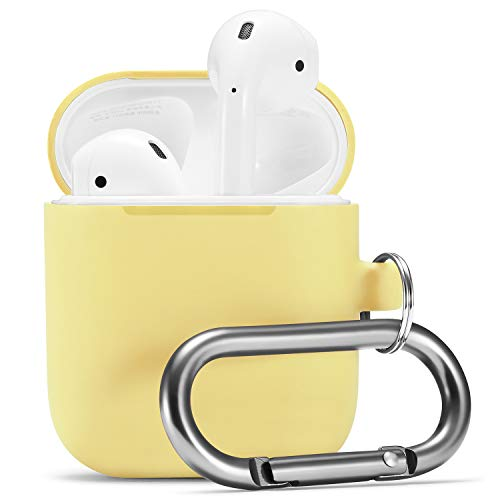 Airpods Case, Airpod Silicone Skin Cases Cover by Camyse, Full Protective Durable Shockproof Drop Proof with Keychain Compatible with Apple Airpods Charging Case,Airpods Accesssories (Yellow) ()