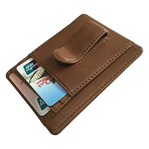 Mens Money Clip Genuine Leather Minimalist Slim Front Pocket Purse Spring Clip Wallet (Light - Money Clip Spring