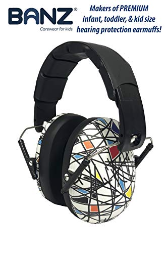 BANZ Kids Headphones - Hearing Protection Earmuffs For Children - ADJUSTABLE headband to fit all ages - Protect Kids Ears - Block Noise - Fireworks - Sporting Events - Concerts - Movies (Squiggle)