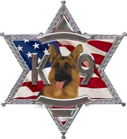 (K9 6 Point Star Police Dog Decal With Shepherd - 6
