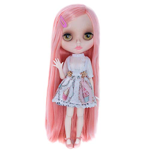 1/6 BJD Doll is Similar to Neo Blythe, 4-Color Changing Eyes Shiny Face and Ball Jointed Body Dolls, 12 Inch Customized Dolls with Five Hands, Nude Doll Sold Exclude Clothes (YM13)