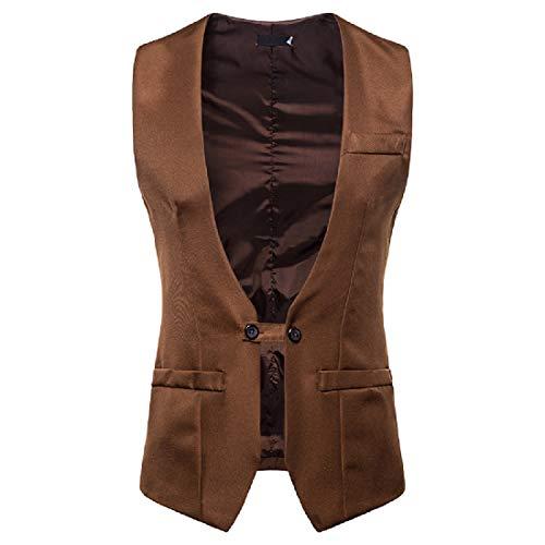 (SportsX Men V Neck Solid Slim Fit Stylish Single Button Party Suit Vests Khaki S)