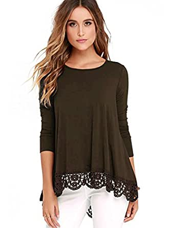 FISOUL Women's Tops Long Sleeve Lace Trim O-Neck A-Line Tunic Tops Small Coffee