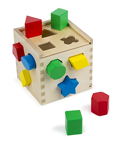Melissa & Doug Shape Sorting Cube - Classic Wooden Toy With 12 Shapes - Box Puzzles Toys