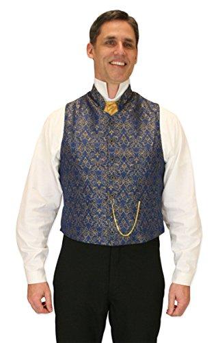 Historical Emporium Men's Mandarin Collar Scroll Dress Vest M Blue/Gold
