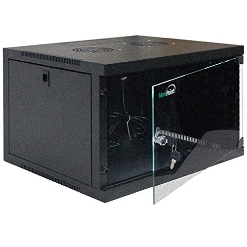 NavePoint 6U Basic IT Wall Mount Network Server Data Cabinet Rack Glass Door Locking Black