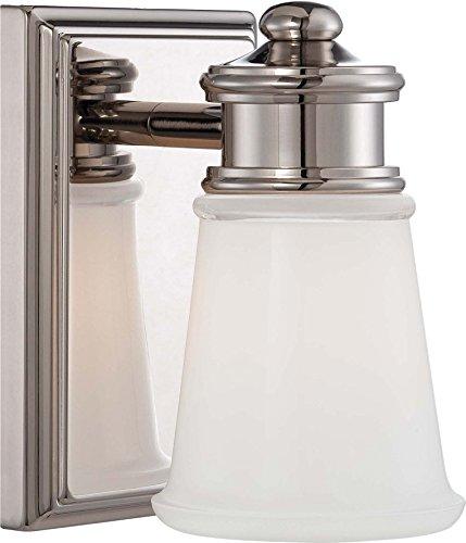 - Minka Lavery Wall Sconce Lighting 4531-613, Bath Art Glass Wall Lamp Fixture, 1 Light, Polished Nickel