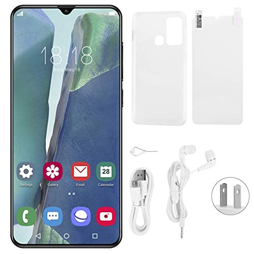 Eboxer 6.5in Dual Cards Dual Standby Smartphone, 12+512G MTK6889 Water Drop Screen Cell Phone, Support Fingerprint Face Recognition Unlock, with Three Rear Camera, Charger, Headphone, Black(US)