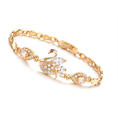 (My.Monkey Swan Design Contracted Shinny Rosegold Girl Bracelet)