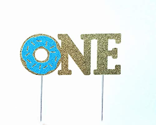 Blue Donut - CMS Design Studio Handmade 1st First Donut Birthday Cake Topper Decoration - one - Made in USA Double Sided Gold Blue Glitter Stock (Blue)