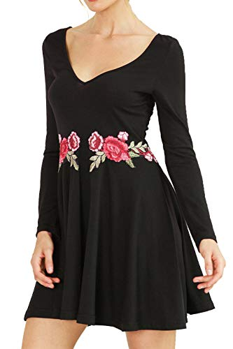 (Chifave Women's Long Sleeve Deep V-Neck Casual Floral Embroidered Skater Flared A Line Dress (Black, S))