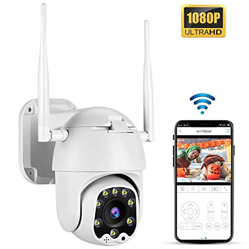 Outdoor WiFi PTZ 2MP Camera,TOMLOV 1080P HD Security Camera 33ft Smart Night Vision, Pan 320° Tilt 100° 4X Digital Zoom,3.6mm Fixed Lens,5dbi Antenna,Detection Alarm,APP Remote Monitoring
