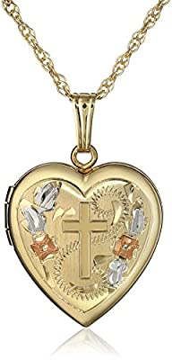 14k Yellow Gold-Filled Engraved Cross Heart Locket, 18""