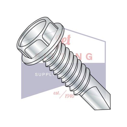1/4-28X4 Self-Drilling Screws | Machine Screw Thread | Unslotted Hex Washers Head | Steel | Zinc (QUANTITY: 700)