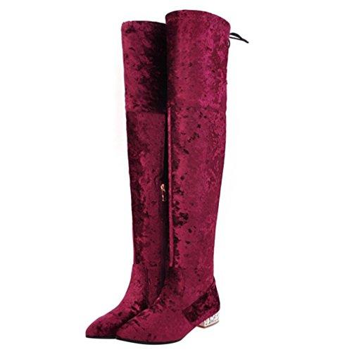 ENMAYER Damen Pleuche Material Over-the-Kniehohe Stiefel Winter-Schuhe Party Hochzeit Lange Stiefel Red