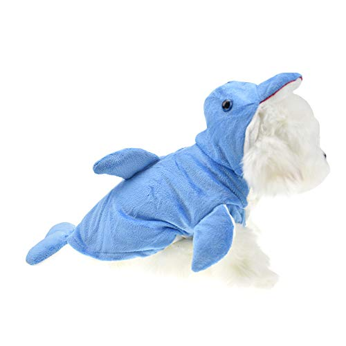 FLAdorepet Funny Halloween Dog Giraffe Costume Outfits Clothes Winter Warm Fleece Dog Pet Cat Jacket Coat Hoodie (L, Blue) -