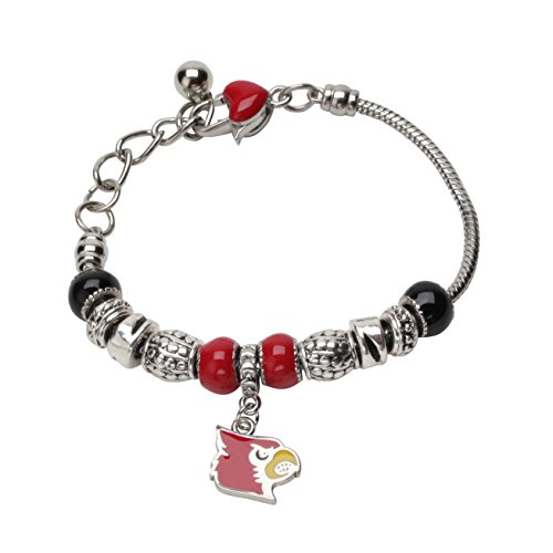 Inspired Silver University Of Louisville Heart Clasp Beaded Cardinals Charm Bracelet