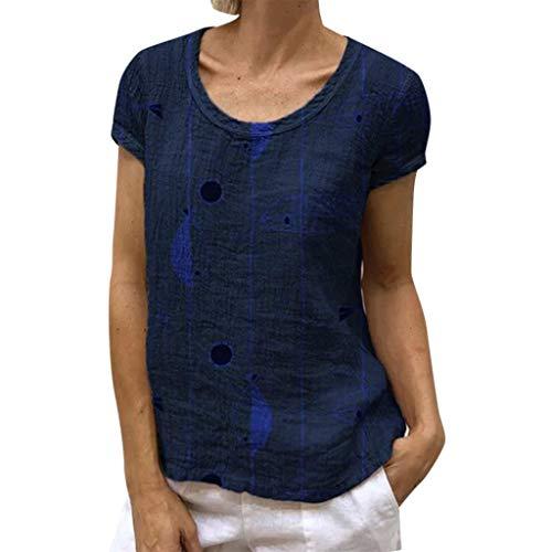POQOQ Blouse Women Ladies Summer Short Sleeve Print Casual Tops T-Shirt Loose -