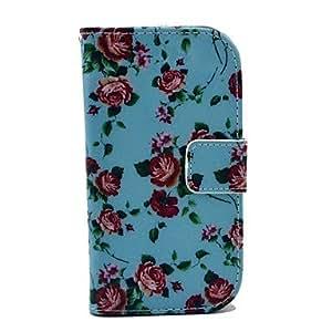 Funda de cuero azul de Rose del patr¨®n de flor de la PU con ranura para tarjetas y soporte para Samsung Galaxy S3 I8190 mini-