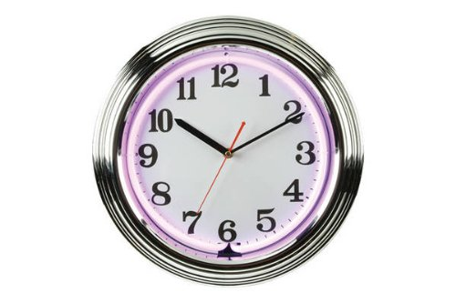 (CHH 8145PR 15 Inch Flashing Neon Wall Clock with Chrome Border - Purple and White)