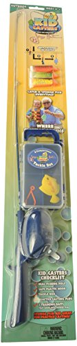 Kid Casters Fishing Kit (Real Rod and Reel Tackle Box Casting Plug Safe Hook and Training Lure)