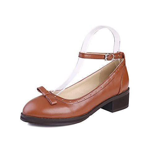 AmoonyFashion Womens Round Closed Toe Low Heels Buckle Solid Pumps-Shoes Brown NiuktmDc