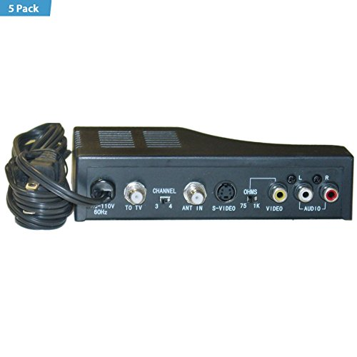 5 Pack - RF Modulator with S-Video, Composite Audio/Video RCA / S-Video...