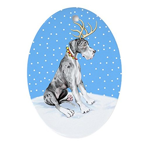 CafePress Great Dane Deer Merle UC Oval Holiday Christmas Ornament ()