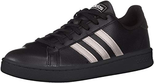 adidas Women's Grand Court Sneaker, Black/Platinum Metallic/Black, 5.5 M US
