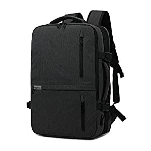 Kroeus 3-way Laptop Backpack Available Hidden Strap Expandable Large Shoulder Bag 15.6 Inch Laptop Computer PC Briefcase Waterproof Business Bag Black
