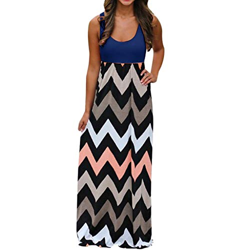 Womens Long Maxi Dress, JOYFEEL Striped Straight Sleeveless Tank Top Party Floral Chevron Casual Summer Party Dress -