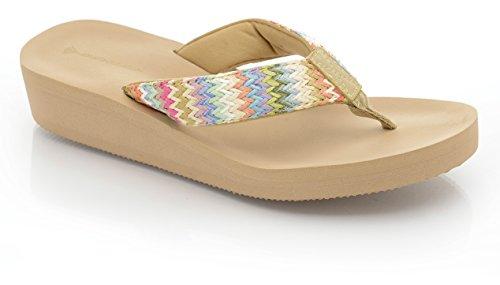 Damen Flip Beige Summer Wedge Post Beach Sandale Dunlop Damen Beige Flop Toe Iwqgn6T