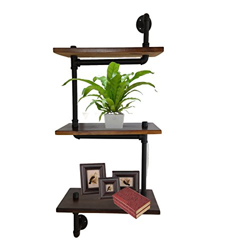 3-Tiers S Design Industrial Wrought Iron Pipe Shelf Bracket Bookshelf Wall Mount Iron Pipe Shelf Hung Bracket Diy Storage Shelving(20 Inches) (Iron Wood Bookcase Wrought And)
