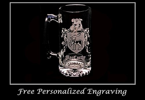 MacCarthy (McCarthy) Irish Coat of Arms Stein: Free Shipping & Personalized Engraving