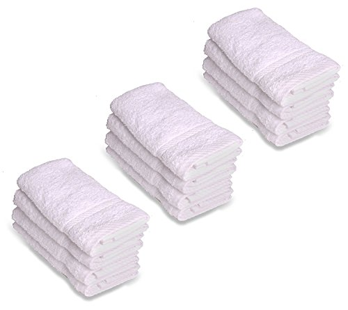 Alurri Washcloth Towel Set, 12-Pack, Extra Soft Cotton Fingertip Towels, Highly Absorbent, Machine Washable, 13'' x 13'' Mini Multi-purpose, Ideal for Gym, Spa, Face Cleansing, House cleaning. (White) by Alurri (Image #1)