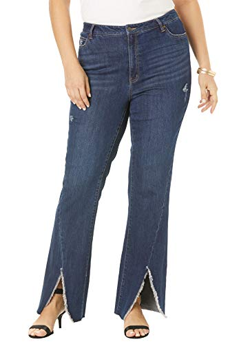 Roamans Women's Plus Size Frayed Slit Jean - Dark Wash, 28 W