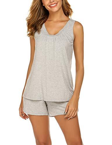 Nightwear Cotton - Ekouaer Women's Pajama Set Tank Top and Shorts Cotton V-Neck Sleepwear Nightwear Capri Pjs
