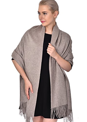 ADVANOVA Christmas Gift for Women 100% Wool Pashmina Large Size Blanket Scarf Winter Evening Wrap Gift Box (Bronze Brown)