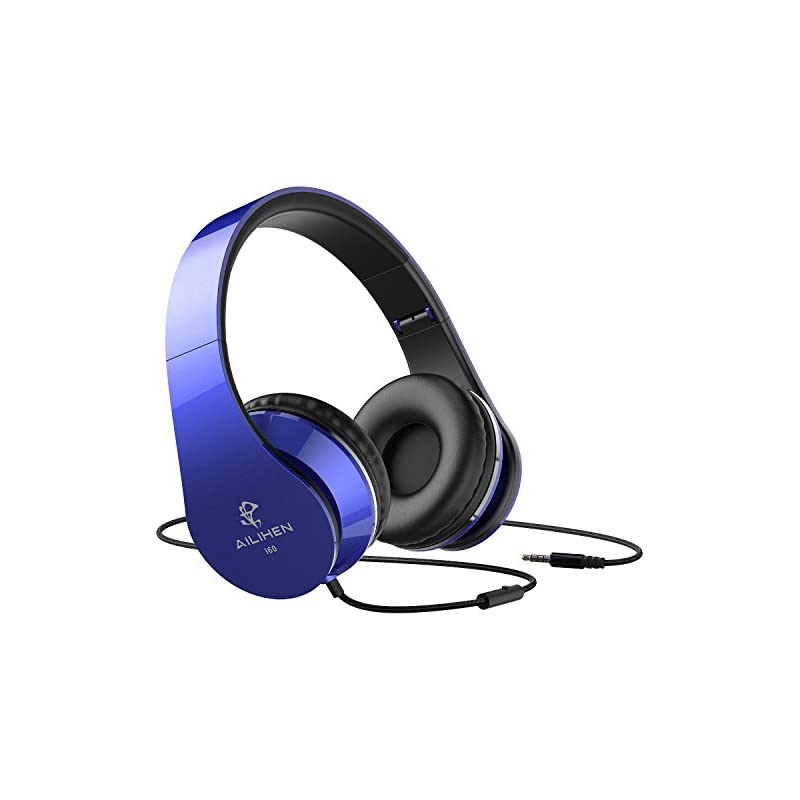 AILIHEN Wired Headphones with Microphone, Stereo Foldable Lightweight On Ear Headset for iOS Android Smartphone Cellphones Laptop Tablet PC Computer (Blue)
