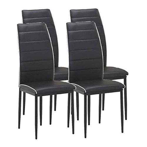 Trend Esszimmerstühle, Kunstleder schwarz, 4Stück