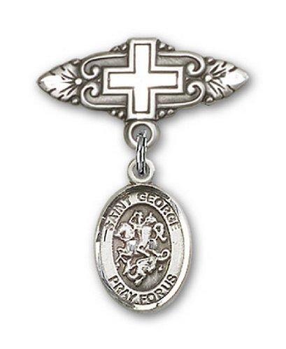 Icecarats Créatrice De Bijoux En Argent Sterling St. George Broche De Badge Charme Avec Une Croix X 3/4