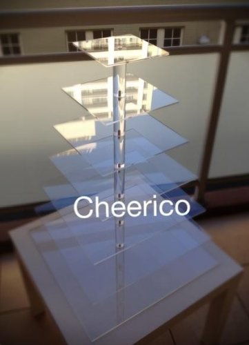 8 Tier Large Square Pole Wedding Acrylic Cupcake Stand Tree Tower Cup Cake Display