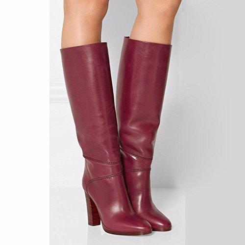 L@YC Botas de mujer Stiletto Heel Round Toe Knee High PU Cuero sintético Otoño Invierno Confort Novedad Red