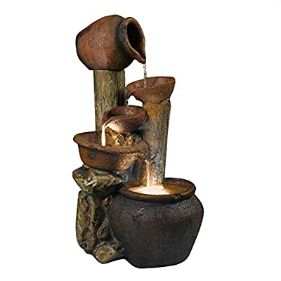 "Tree Pot Outdoor-Indoor Fountain with Illumination - Durable polyresin and fiberglass construction Pump included, Electric power. Output: 110v, Line Cord: 13.2 feet Dimension: 18""L x 15""W x 33""H, Weight: 22.3 lbs. - patio, outdoor-decor, fountains - 41JjN6UhoXL. SS400  -"